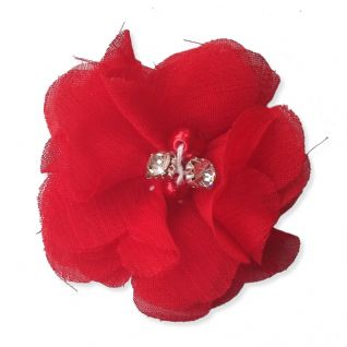 5cm Pearl Diamante RED Fabric Flower Applique